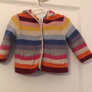 Gap stripe button up teddy bear hoodie 3-6